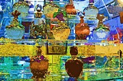 Stoppers Posters - Jeweled Perfume Bottles Poster by Pamela Patch