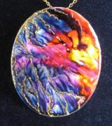 Hand Painted Jewelry - Jewelry-hand Painted Pendant And Brooch Mother Of Pearl Abstract Painting by Evelina Pastilati