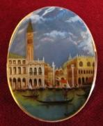 Hand Painted Jewelry - Jewelry-hand Painted Pendant And Brooch Mother Of Pearl And Gold 18 Kt Canaletto Venezia by Evelina Pastilati