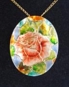 Hand Painted Jewelry - Jewelry-hand Painted Pendant And Brooch Mother Of Pearl Flower Tiffany Style by Evelina Pastilati