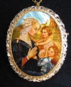 Hand Painted Jewelry - Jewelry-hand Painted Pendant And Brooch Mother Of Pearl Gold 18kt And Diamonds Madonna Filippo Lippi by Evelina Pastilati
