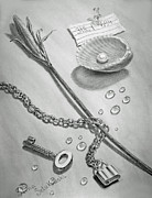 Still Life Drawings Metal Prints - Jewels of Love Metal Print by Irina Sztukowski