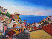 Village Pastels Prints - Jewels of Riomaggiore Print by Leah Wiedemer