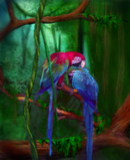 Parrot Mixed Media Prints - Jewels Of The Jungle Print by Carol Cavalaris