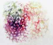 Grapes Green Prints - Jewels on the vine Print by Rachel Christine Nowicki