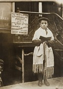 Hebrews Posters - Jewish Boy Wearing A Prayer Shawl Poster by Everett