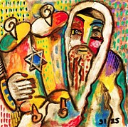 Rabbi Paintings - Jewish Celebrations Rejoicing In The Torah by Sandra Silberzweig