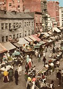 Tenements Prints - Jewish Market On The East Side, New Print by Everett