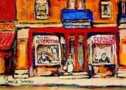 Montreal Neighborhoods Paintings - Jewish Montreal Vintage City Scenes De Bullion Street Cobbler by Carole Spandau