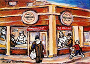 Montreal Neighborhoods Paintings - Jewish Montreal Vintage City Scenes Fish Market On Roy Street by Carole Spandau