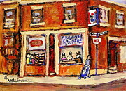 Montreal Neighborhoods Paintings - Jewish Montreal Vintage City Scenes Hutchison Street Butcher Shop  by Carole Spandau