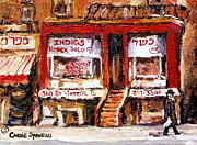 Montreal Neighborhoods Paintings - Jewish Montreal Vintage City Scenes Indigs Kosher Butcher by Carole Spandau
