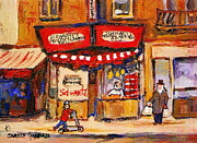 Montreal Storefronts Paintings - Jewish Montreal Vintage City Scenes Schwartzs Original Hebrew Deli by Carole Spandau
