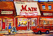 Jewish Restaurants Paintings - Jewish Montreal Vintage City Scenes The Main Rib Steaks On St. Lawrence Boulevard by Carole Spandau