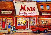 Jewish Montreal Vintage City Scenes The Main Rib Steaks On St. Lawrence Boulevard Print by Carole Spandau