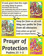 Engagement Digital Art Prints - Jewish Prayer Of Protection City Of Jerusalem Citron Print by Sandra Silberzweig