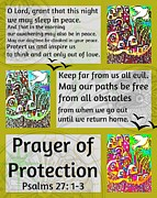 Engagement Digital Art Prints - Jewish Prayer Of Protection City Of Jerusalem Gold Print by Sandra Silberzweig