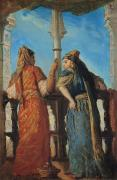 Balconies Framed Prints - Jewish Women at the Balcony in Algiers Framed Print by Theodore Chasseriau