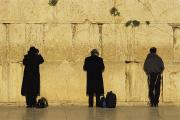 Traditional Clothing Framed Prints - Jews Pray At The Western Wall Framed Print by Annie Griffiths