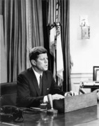 Bay Of Pigs Framed Prints - JFK Addresses The Nation  Framed Print by War Is Hell Store