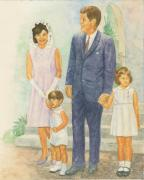 White House Painting Posters - Jfk Family Poster by Robert Casilla