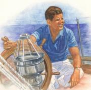 President Pastels Prints - JFK Sailing Print by Robert Casilla