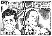 Editorial Cartoon Mixed Media - JFK vs Obama on NASA by Yonatan Frimer Maze Artist