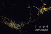 Aerial Photography Photo Framed Prints - Jiddah And Mecca, Saudi Arabia, At Night Framed Print by NASA/Science Source