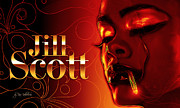 Heat Digital Art Posters - Jill Scott Poster by Kia Kelliebrew