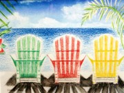 Grey Clouds Painting Posters - Jills Beach Chairs Poster by Jamie Frier