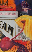 Glass Bottle Drawings Originals - Jim Beam by Joan Pollak
