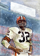 Cleveland Browns Drawings Framed Prints - Jim Brown Framed Print by Dave Olsen