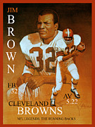 Sports Legends Paintings - Jim Brown  NFL Legend by Hedward Brooks
