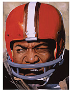 Football Paintings - Jim Brown by Rich Marks