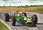 Indy Car Framed Prints - Jim Clark Natural born racer Framed Print by Chris Cox
