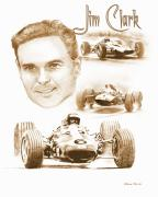 Motorsport Drawings - Jim Clark by Steve Jones