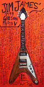 Woody Guthrie Paintings - Jim James Gibson Flying V by Karl Haglund