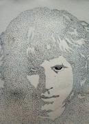 Rock Star Drawings - Jim Morrison 2. by Richard Brooks. by Richard Brooks