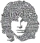 Jim Morrison Drawings Prints - Jim Morrison Black and White Word Portrait Print by Kato Smock