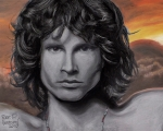 Roll Pastels Framed Prints - Jim Morrison Framed Print by Dennis Jones