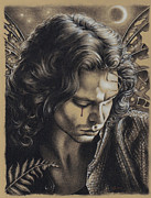 Jim Morrison Drawings Prints - Jim Morrison Enchantment Print by Michele Fusco
