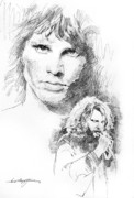 Celebrity Portraits Drawings Posters - Jim Morrison Faces Poster by David Lloyd Glover