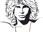 Pen And Ink Portraits Posters - Jim Morrison Poster by Marty Rice