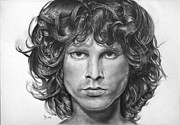 Jim Morrison Drawings Prints - Jim Morrison Mojo King Print by Laszlo Papp