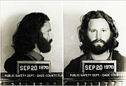 Jim Morrison Framed Prints - Jim Morrison Mugshot Framed Print by Bill Cannon