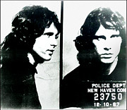 Jim Morrison Digital Art Prints - Jim Morrison Mugshot - New Haven Connecticut Print by Bill Cannon