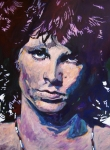 Leather Paintings - Jim Morrison the Lizard King by David Lloyd Glover