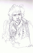 Rock N Roll Drawings Originals - Jimi - Daze by Bobby LeVangie