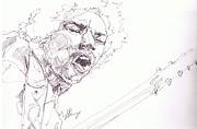 Rock N Roll Drawings Originals - Jimi - Untouchable  by Bobby LeVangie