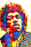 Jimi Hendrix Digital Art Prints - Jimi 2 Print by Juan Jose Espinoza